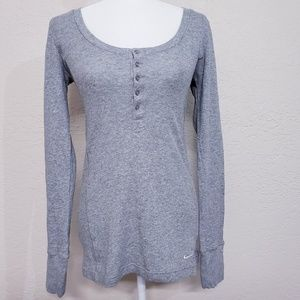 Nike grey long waffle knit henley thermal top Med